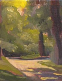 "In the Park by Pamela Preciado. 9"" x 1"" Oil on Canvas.  Offered on www.discoveredartist.com"